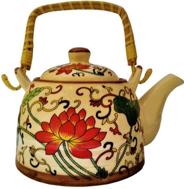 Ceramic Kettle 'Spring Garden': 850 ml Tea Coffee Pot, Steel Strainer Included (11611)