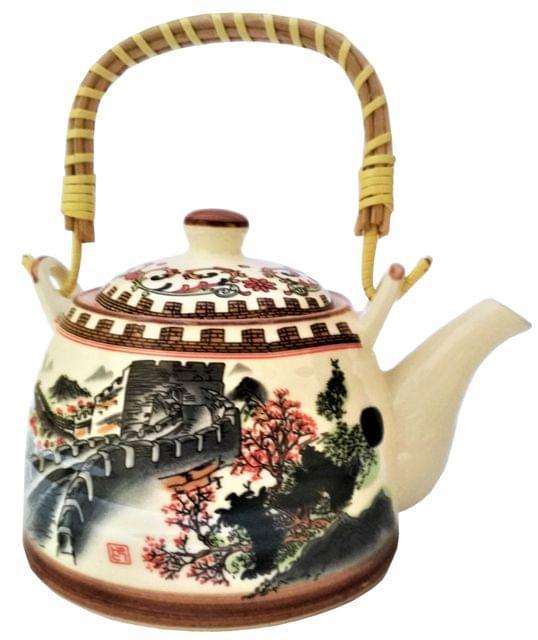 Ceramic Kettle 'Great Wall': 500 ml Tea Coffee Pot, Steel Strainer Included (11620)