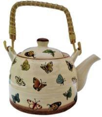 Ceramic Kettle 'Lively Butterflies': 500 ml Tea Coffee Pot, Steel Strainer Included (11621)