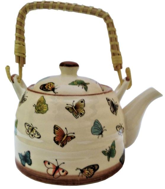 Ceramic Kettle 'Lively Butterflies': 500 ml Tea Coffee Pot, Steel Strainer Included (11621)