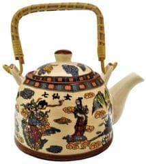 Ceramic Kettle 'Morning Beauty': 500 ml Tea Coffee Pot, Steel Strainer Included (11622)