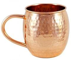 Purpledip Copper Mug: Barrel Design Hammered Cup (11625)