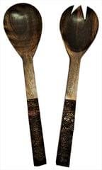 Purpledip Wooden Serving Spoon & Fork Set 'Evergreen': Handmade Vintage Tableware or Kitchen Decorative Accent (11629)