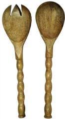 Purpledip Wooden Serving Spoon & Fork Set 'Knots & Twirls': Handmade Vintage Tableware or Kitchen Decorative Accent (11632)