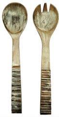 Purpledip Wooden Serving Spoon & Fork Set 'Last Millenia': Antique Design Tableware or Kitchen Decorative Accent (11633)
