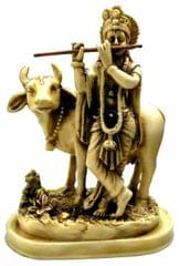 Purpledip Resin Idol Lord Krishna with Cow: Stone Finish Statue for Home Temple (11645)