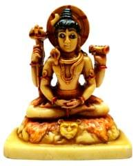 Purpledip Resin Idol Lord Shiva Mahadev, the Destroyer of Evils: Stone Finish Statue for Home Temple (11646)