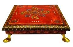 Purpledip Wooden Chowki: Hand-painted Platform for God Idols in Home Temple (11653)