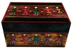 Purpledip Decorative Wooden Box 'My Tribe': Warli Art Painted Vintage Case for Jewelry, Trinkets or Tea Bags (11654)