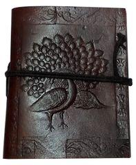Purpledip Leather Diary 'Proud Peacock': Handmade Paper Travel Journal Pocket Notebook (11707)
