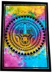 Purpledip Cotton Wall Poster Beach Throw 'Hamsa, Hand Of Fatima': Bohemian Wall Hanging Tapestry (20026)