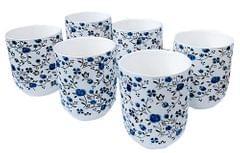 Purpledip Bone China Cup Set: 6 Authentic Cups for Tea (11727)