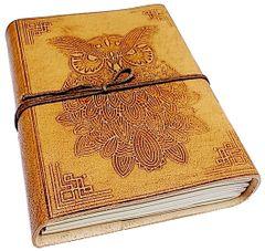 Purpledip Leather Journal 'Owl's Wisdom': Handmade Paper Diary for Corporate Gift or Personal Memoir (11738)