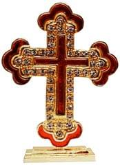 Purpledip Metal Cross with Glittering Gemstones: For Home, Altar or Car (11742)