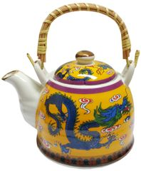 Purpledip Ceramic Fire Kettle 'Fiery Dragon': 1L Tea Pot with Steel Strainer (11781)