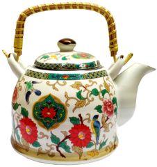 Purpledip Ceramic Fire Kettle 'Nature Garden': 1L Tea Pot with Steel Strainer (11782)