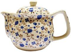 Purpledip Painted Ceramic Kettle 'Flower Trails': Small 350 ml Tea Coffee Pot, Steel Strainer Included (11785)