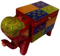Purpledip Wooden Trinket Box 'Merry Elephant': Unique Handpainted Box with Lids (11286A)