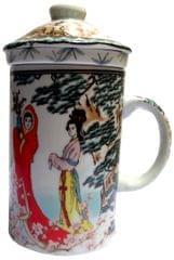 Purpledip Porcelain Oriental Green Tea Mug, Infuser & Lid 'Morning Walk' (11723A)
