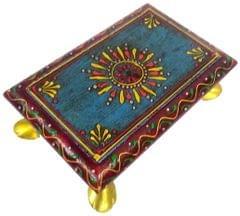 Purpledip Wooden Chowki: Hand-painted Platform for God Idols in Home Temple (11810)