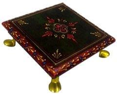 Purpledip Wooden Chowki: Hand-painted Platform for God Idols in Home Temple (11811)