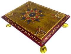 Purpledip Wooden Chowki: Hand-painted Platform for God Idols in Home Temple (11812)