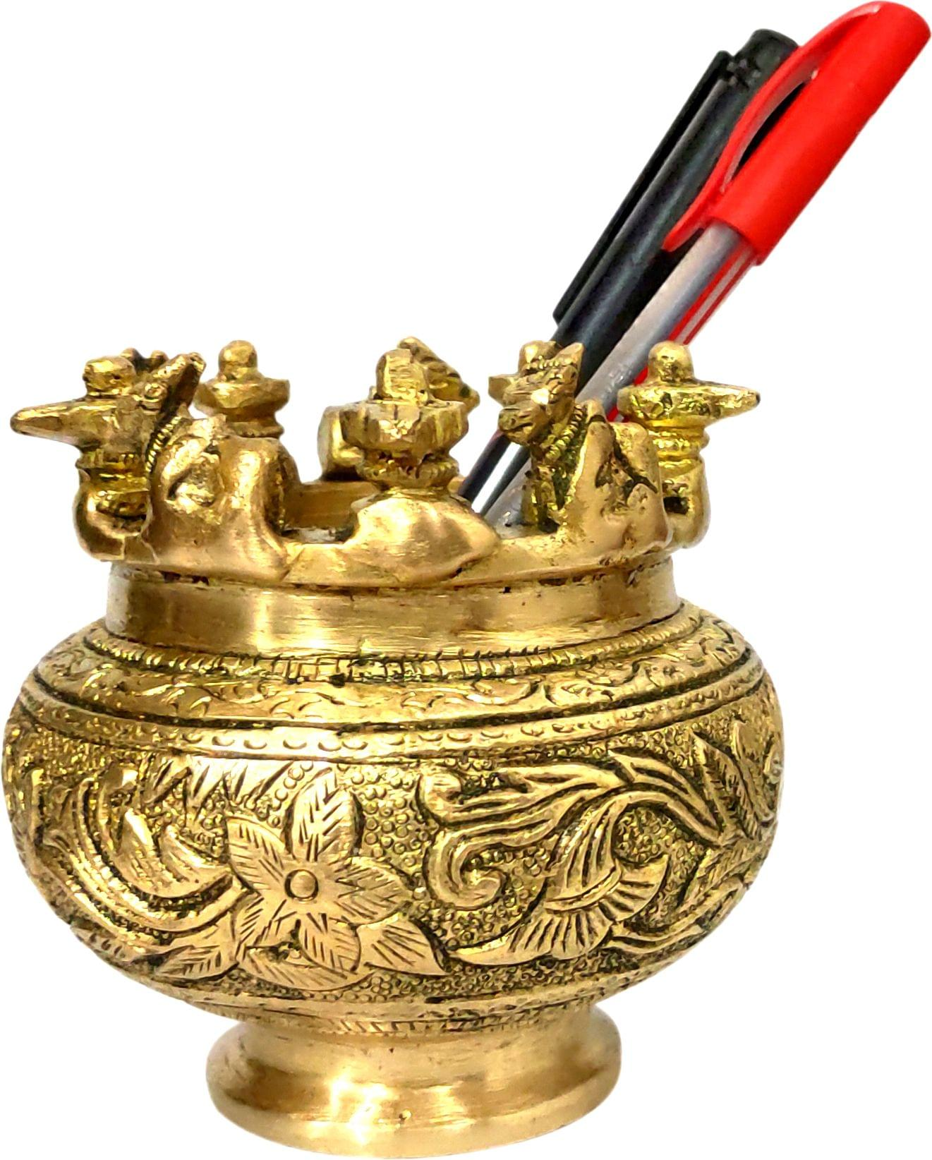 Purpledip India Tradition Gift Hamper Brass Ganesha With Turquoise Stonework In Classy Pack