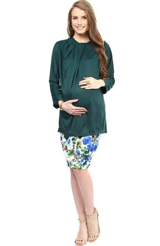 Maternity Skirt Blue Print