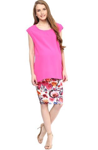 Maternity Skirt Pink Printed