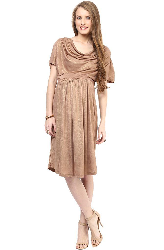 Maternity Dress Golden Cowl