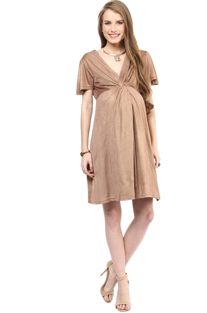 Maternity Dress Gold Knotted