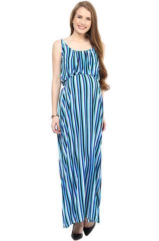 Maternity Maxi Blue Striped