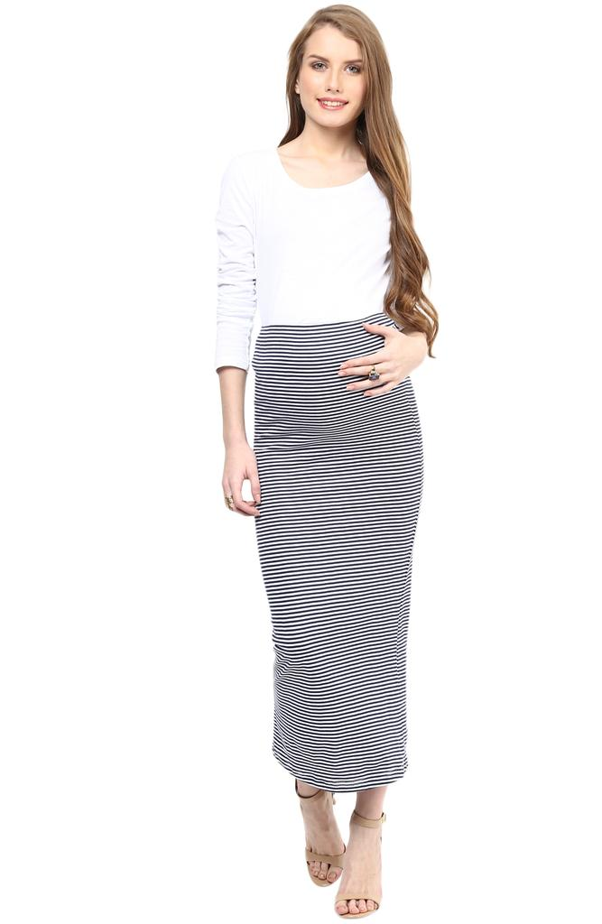 Maternity Skirt Long Striped
