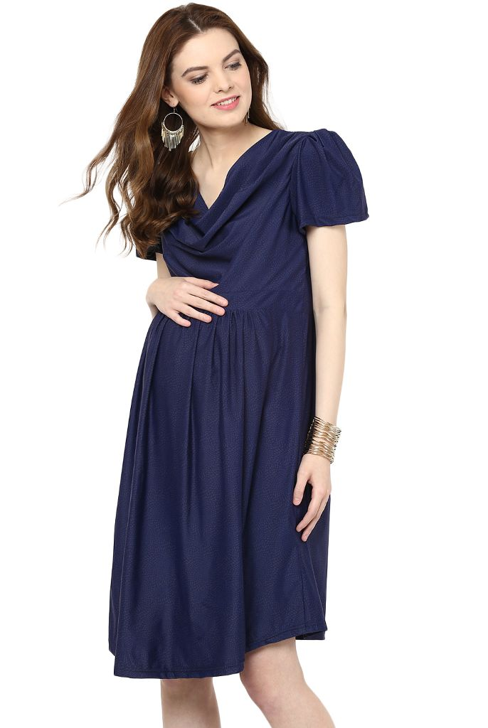 Maternity Dress Printed Blue