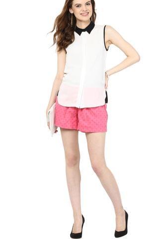 Maternity Shorts Pink on Pink Polka Dots