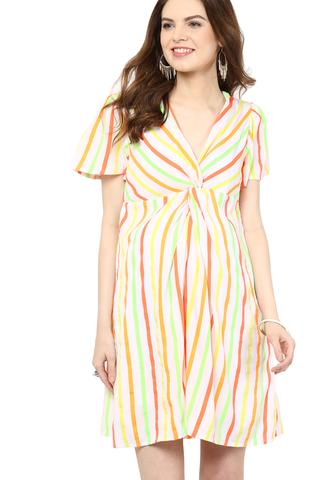 Maternity Dress Neon Knotted
