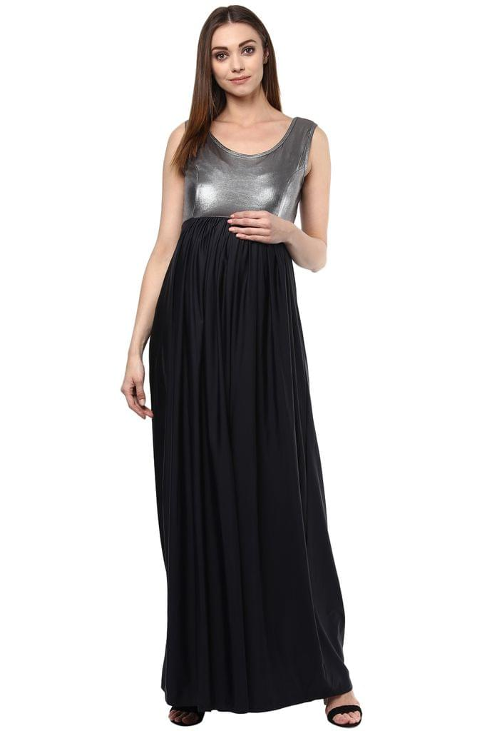 Maternity Maxi Dress Silver & Black