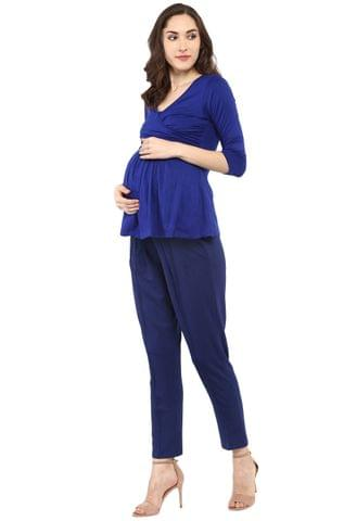 Maternity cum Nursing Royal Blue Front Cross Top