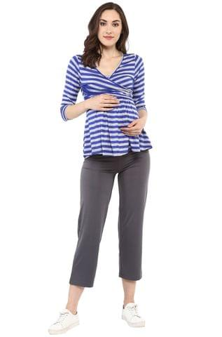Maternity cum Nursing Top Front Cross Navy Stripes