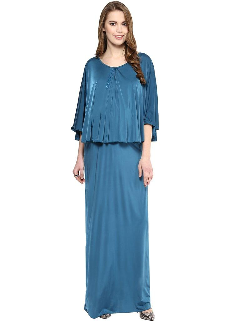 Maternity cum Nursing Maxi with Cape Teal Embellished