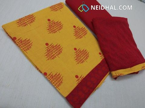 Printed Yellow cotton unstitched salwar material with daman patch Red cotton bottom, block printed red chiffon dupatta with taping