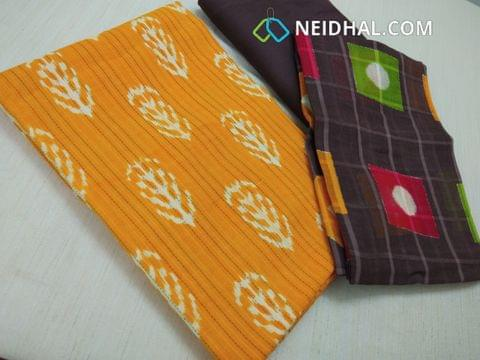 Yellow Block printed unstitched salwar material(requires lining) with stitch work on both sides, Brown drum dyed cotton bottom, Block printed Cotton bottom(requries taping)