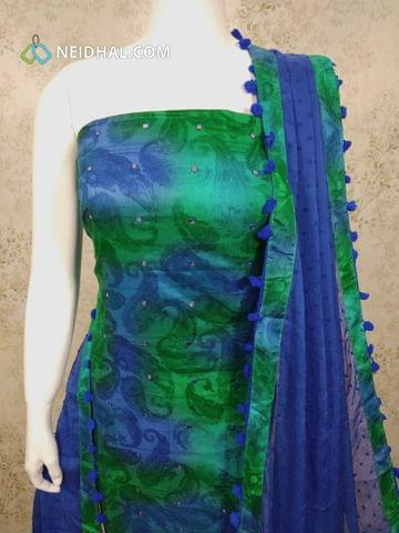 Printed Multi Color Satin Cotton unstitched salwar material(requires lining) with foil mirror work on front side, Blue cotton bottom, thread work on Blue chiffon dupatta with pom pom tapings.