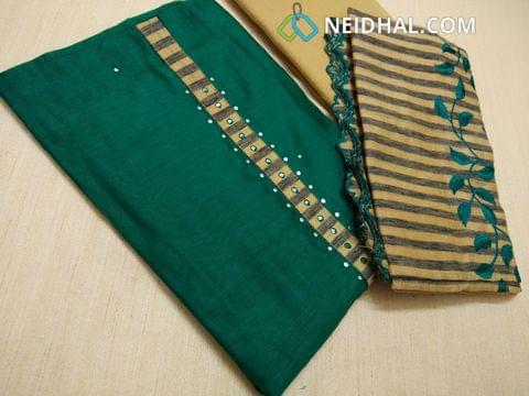 Green Silk Cotton unstitched salwar material(requires lining) with faux mirror work on yoke, daman patch, Beige cotton bottom, Silk cotton dupatta with emrboidery work and embroidery tapings.