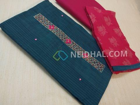 Blue Silk Cotton unsitched salwar material(requires lining) with thread, sequins and pipe work on yoke, daman patch, Pink cotton bottom, dew drops work on pink chiffon dupatta.