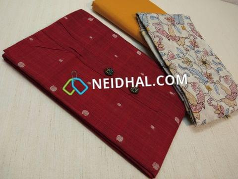 Maroonish Red Silk Cotton Unstitched Salwar material(requires lining) with thread butta work, Yellow Cotton bottom, Colorful Floral Heavy thread work on cream soft Silk cotton dupatta with zari weaving and tassels
