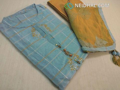 Designer Blueish Grey silk cotton unstitched salwar material(requires lining) with neck stitched, fancy wood and metal buttons, sequins and thread work on front side, plain back with Line stitch work, Yellow silk cotton bottom, sober yellow chiffon dupatta with thread and sequins work, taping with round tassles.