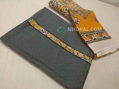 Grey Jaquard cottonn unsitched salwar material with Kalamkari yoke patch, daman patch, Yellow Kalamkari cotton bottom, Printed cotton dupatta