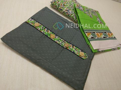 Grey Jaquard cottonn unsitched salwar material with Kalamkari yoke patch, daman patch, Green Kalamkari cotton bottom, Printed cotton dupatta