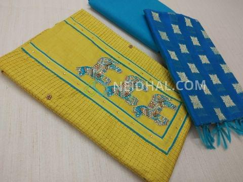 Mehandi Green Cotton unstitched salwar material(Requires lining) with thread bead work on yoke, embroidery patterns on front side, plain back, Blue cotton bottom, Blue Silk Cotton Benarasi weaving duptta with tassels.